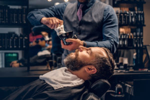 Picture of a barber shaving